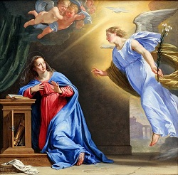 Daily Meditation: ``The angel came to her and said, Rejoice, full of grace, the Lord is with you``