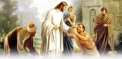Daily Meditation: ``Throwing himself on his face before Jesus, he gave him thanks``