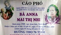 Cáo phó: Bà Anna Mai Thị Nhi