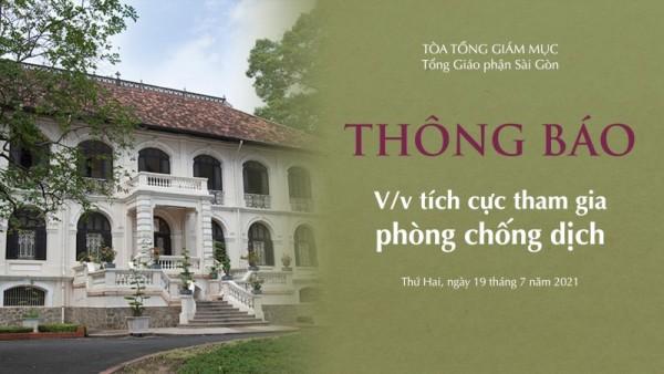 Tòa TGM Sài Gòn: Thông báo về việc phòng chống dịch ngày 19.07.2021